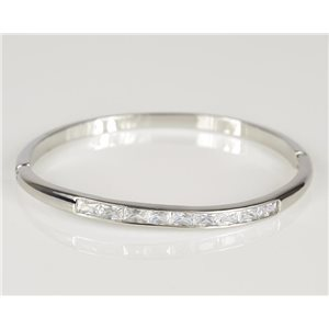 Bracelet Jonc à clip métal couleur Or Blanc Zircon coupe diamant D60mm Collection Chic 78434