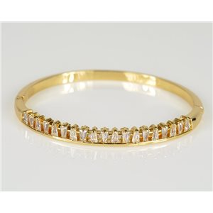 Bangle with metal clip color Yellow Gold Zircon diamond cut D60mm Chic Collection 78444