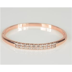 Bangle with metal clip in Rose Gold color Zircon diamond cut D60mm Chic Collection 78448