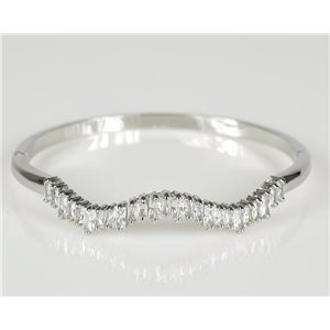 Bangle with metal clip color White Gold Zircon diamond cut D60mm Chic Collection 78452