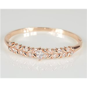 Bangle with metal clip in Rose Gold color Zircon diamond cut D60mm Chic Collection 78457