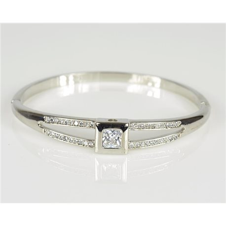 Bangle with metal clip color White Gold Zircon diamond cut D60mm Chic Collection 78467