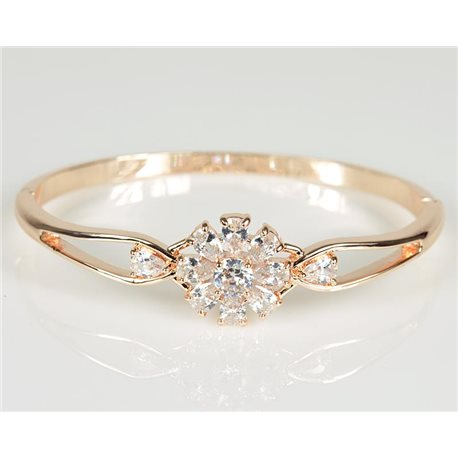 Bangle with metal clip in Rose Gold color Zircon diamond cut D60mm Chic Collection 78472