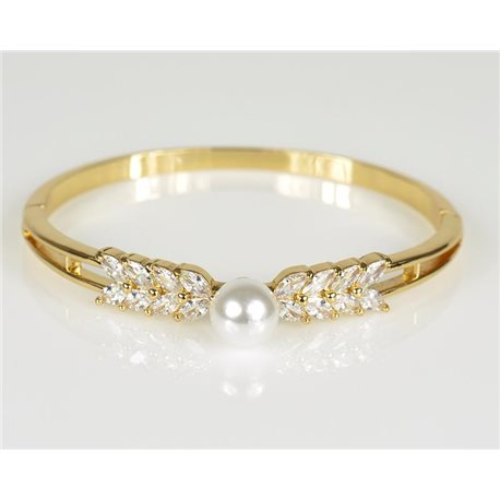 Bangle with metal clip color Yellow Gold Zircon diamond cut D60mm Chic Collection 78474