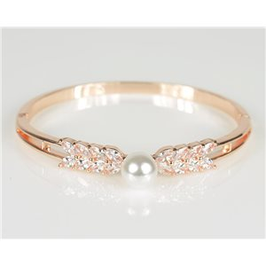 Bangle with metal clip in Rose Gold color Zircon diamond cut D60mm Chic Collection 78475