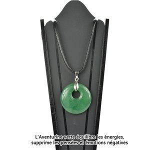 Donuts Necklace Pendant 30mm Green Aventurine Stone on waxed cord 78333