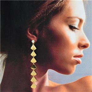 1p Gold Earrings with hanging studs 10cm MILEVA Collection Chic Fashion 78224