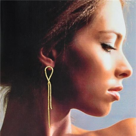1p Gold Earrings with Hanging studs 9cm MILEVA Collection Chic Fashion 78226