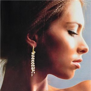 1p Gold Earrings with hanging studs 6cm MILEVA Collection Chic Fashion 78234
