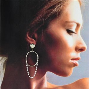 1p Silver Earrings with Drop Studs 7cm MILEVA Fashion Chic Collection 78237