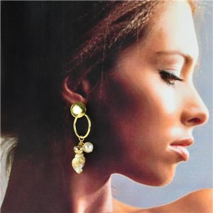 1p Gold Earrings with Hanging studs 6cm MILEVA Collection Chic Fashion 78242