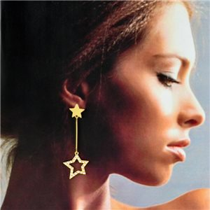 1p Gold Earrings with Hanging studs 6cm MILEVA Fashion Chic Collection 78250