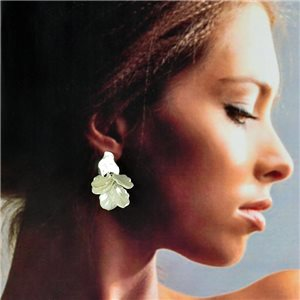 1p Silver Stud Earrings 5cm FLORA Fashion Chic Collection 78263