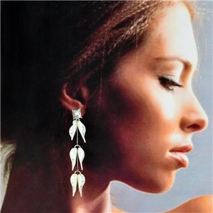 1p Silver Earrings with Drop Studs 7cm FLORA Fashion Chic Collection 78267