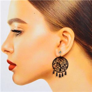 1p Boucles Oreilles Filigrane à clou Zircon et Pampilles New Collection 78372