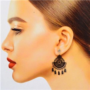 1p Boucles Oreilles Filigrane à clou Zircon et Pampilles New Collection 78373