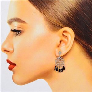 1p Boucles Oreilles Filigrane à clou Zircon et Pampilles New Collection 78375