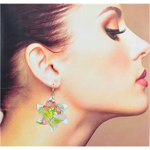 1p Earrings Filigree with silver hook New Ethnic Collection 78336