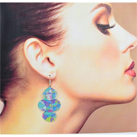 1p Earrings Filigree with silver hook New Ethnic Collection 78345