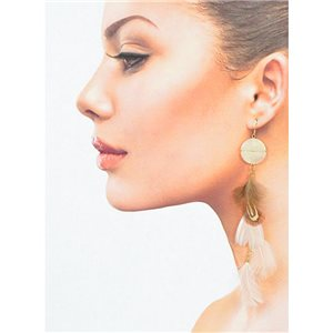 1p Drop earrings with hooks 14cm gold metal New Collection Feathers 78394