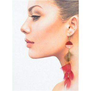 1p Drop earrings with hooks 14cm gold metal New Feathers Collection 78396