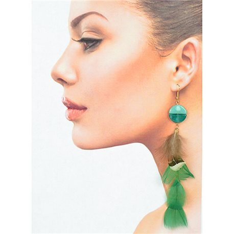 1p Drop earrings with hook 14cm gold metal New Feathers Collection 78398