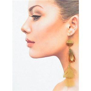 1p Drop earrings with hook 14cm gold metal New Collection Plumes 78400