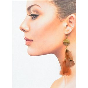 1p Drop earrings with hooks 14cm gold metal New Feathers Collection 78401