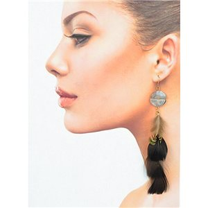1p Drop earrings with hook 14cm gold metal New Feathers Collection 78402