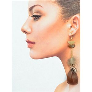 1p Drop earrings with hooks 14cm gold metal New Feathers Collection 78408