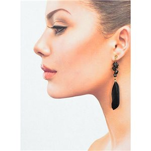 1p Drop Earrings with studs 9cm gold metal New Collection Feathers 78387