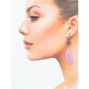 1p Earring with studs 9cm gold metal New Collection Feathers 78392