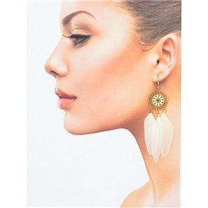 1p Drop earrings with hook 9cm gold metal New Feathers Collection 78410