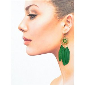 1p Drop earrings with hook 9cm gold metal New Feathers Collection 78416