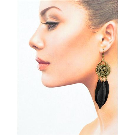 1p Drop earrings with hooks 11cm aged metal New Feathers Collection 78425