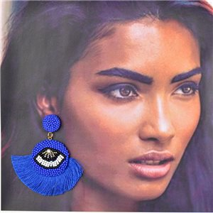 1p Earrings with Pompom Stud and Seed Beads Hand sewn 77790