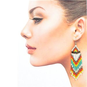 1p Drop Earrings with Hook 10cm Seed beads collection 77782