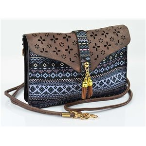 Women's leather-look pouch New Collection Ethnic Fabrics 18 * 14cm 78482