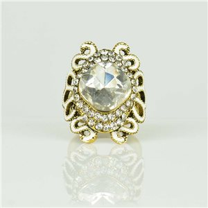 Adjustable Strass Ring Gold Full Strass New Collection 78512