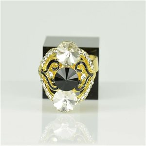 Adjustable Strass Ring Gold Full Strass New Collection 78527
