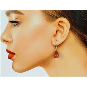 1p Silver Metal Hook Earrings in Sun Stone 78598