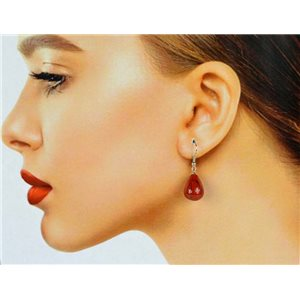 1p Carnelian Stone Silvery Metal Hook Earrings 78599
