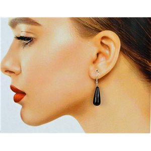 1p Silver plated Obsidian Stone Hook Earrings 78600