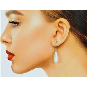 1p Moonstone Stone Silvery Metal Hook Earrings 78602