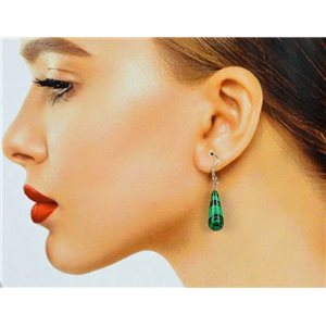 1p Malachite Stone Silvery Metal Hook Earrings 78607