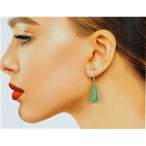 1p Silver-plated Hook Earrings in Green Aventurine Stone78608