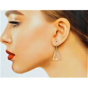 1p White Quartz Stone Silver Metal Hook Earrings 78647
