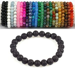 Lava Stone Beads Bracelet 8mm on elastic thread 78658