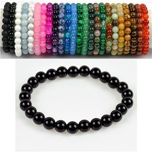 8mm Pearl Bracelet in Obsidian Stone on elastic thread 78659