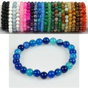 8mm Pearl Bracelet in Blue Agate Stone on elastic thread 78668